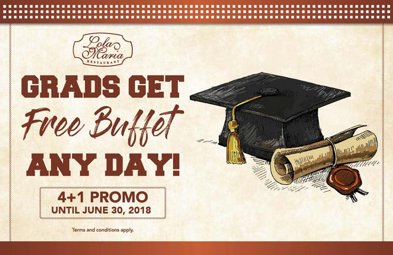Graduates can now celebrate with a free buffet at Lola Maria Restaurant (when accompanied by 4 full-paying adults). Promo runs until June 30, 2018 and is valid for breakfast, lunch, merienda, and dinner.