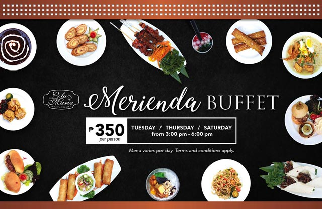 Indulge in a filling Filipino merienda feast at Lola Maria for only Php350 per person. The buffet is open from 3pm to 6pm – on Tuesdays, Thursdays, and Saturdays.